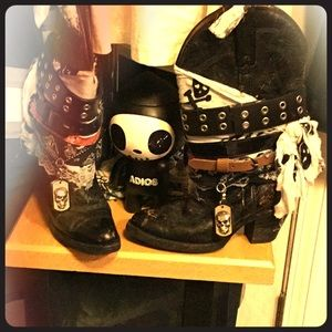 Shoes - PUNKERBlack Boots repurposed 👀Very 🕶EyeCatching